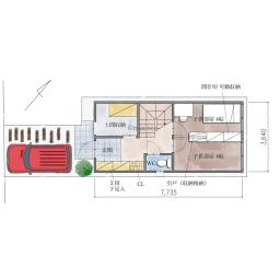 壁面収納が大活躍、狭小かつ旗竿地の家